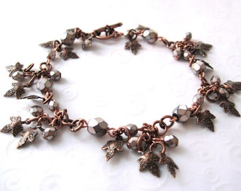 Copper Leaf Bracelet, Leaf Charm Bracelet in Antique Copper with Czech Glass Beads, Fall Fashion Jewelry