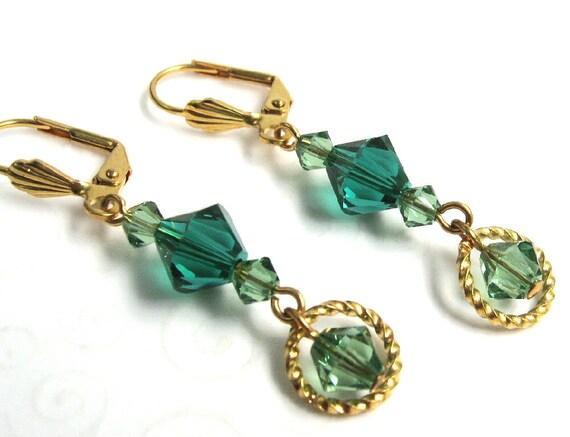 Emerald Green Earrings, Swarovski Elements Crystal Dangle Earrings, Green and Gold Fashion Earrings, May Birthstone Jewelry