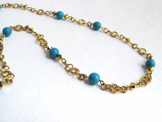 Necklace, Blue Turquoise and Gold Tone, Robin Egg Blue Bead Necklace, Single Strand Dainty Necklace, Everyday Jewelry