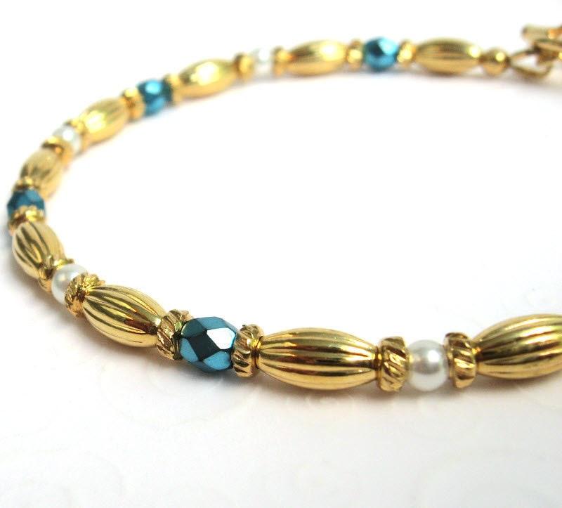 dainty bead bracelet aqua blue and gold beaded bracelet