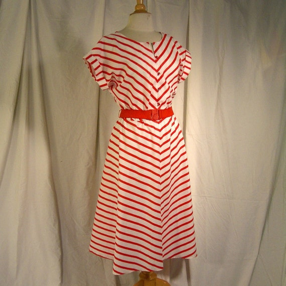 Vtg 80s Nautical Red Stripe Full Skirt Cotton Dress - By Tabby of California - Original Cinch Belt - Adorable Maritime Styling - For Size Large Ahoy Mateys