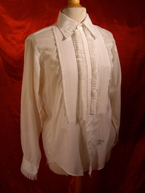 Vtg 60s lew magram mens lace ruffled tuxedo dress shirt for Tony collar dress shirt