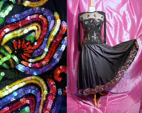 Vintage 80s Designer Party Cocktail Dress - Judith Ann Beaded Illusion Silk Fulll Skirt Dress - Exquisite - For Size Small to Medium Divas