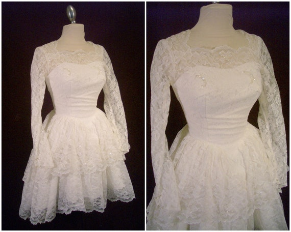 RESERVED for BUFFY  - 1950s White Lace Illusion Tiered Full Circle Skirt Hi/Low Wedding Prom Dress - For Size XS - Small Sassy Brides