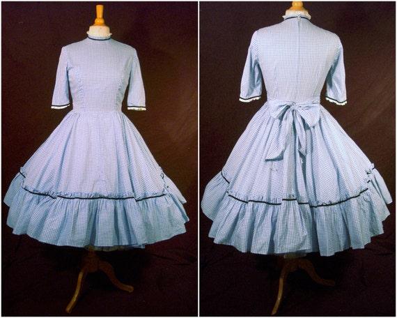 Vintage Dress - 1950s Rockabilly Gingham Full Circle Skirt Cotton Frock - Lace - Velvet Trim - Bow - For Size Medium Darling Dorothys