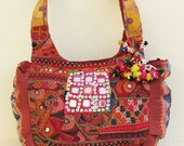 Lilac Skin Embroidered Patchwork Gypsy Tote Ethnic Bag