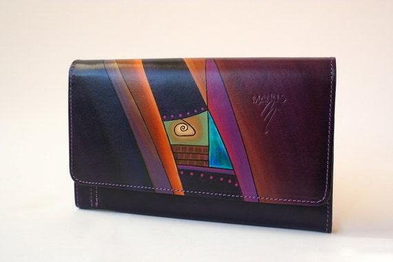 Unique Leather Wallet - BONY (purple, brown)