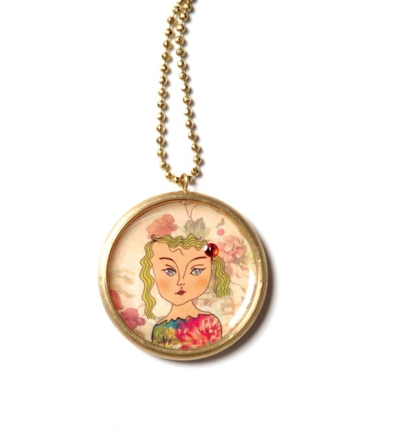 Round pendant - illustrated jewelry, Brass locket with an original colorful illustration of a girl coated in enamel (resin)