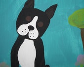 RESERVED for CBGH- Mid-scratch - Upcycled Boston Terrier Painting on Canvas. Child artist tall skinny acrylic turquoise green