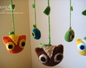 Owls baby mobile - crocheted (made to order only)
