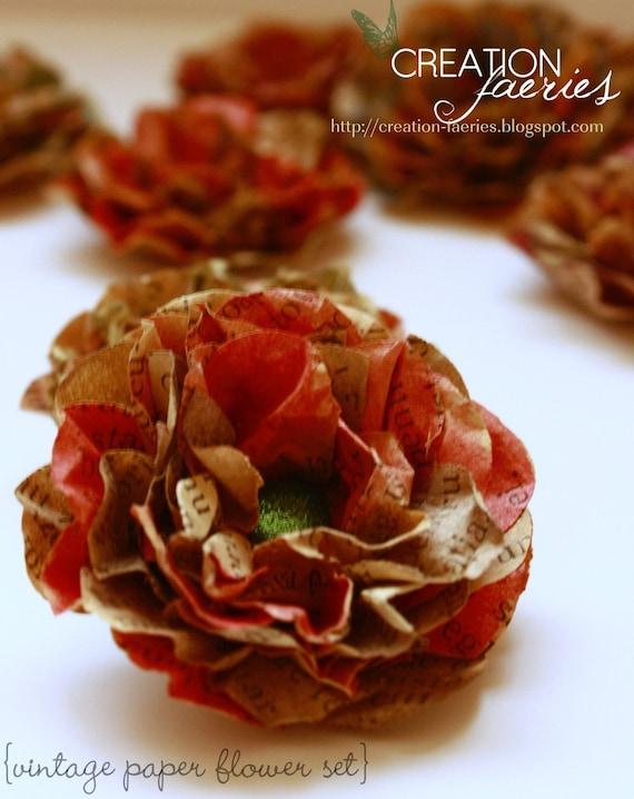 Vintage paper - handmade flowers (8 medium) CUSTOMIZABLE