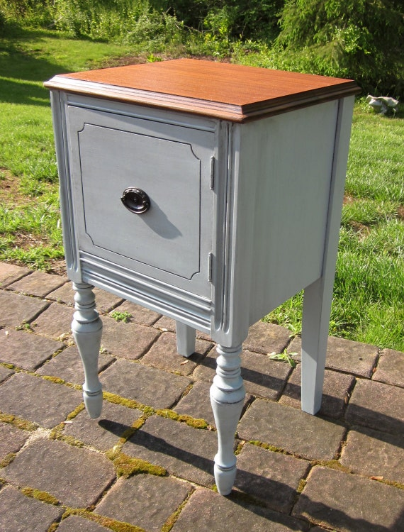 Blue Gray Vintage Nightstand