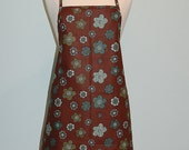 Chocolate Brown with printed Blue flowers apron