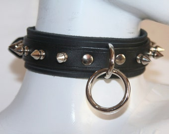 Gothic Leather Choker With Spikes And Single O-ring