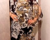 Floral black, beige, white voile caftan shirt, round neckline