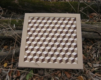Tumbling Block Wooden Quilt
