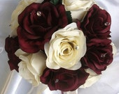 4 pc bridal bouquet wedding flower package BURGUNDY IVORY rose