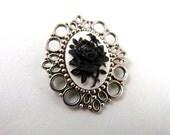 Small Black Rose Cameo Brooch