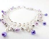 Purple Butterfly Silver Jingle Anklet - Made to Order