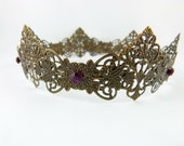 Antique Brass Amethyst Purple Filigree Renaissance Medieval Full Size Crown