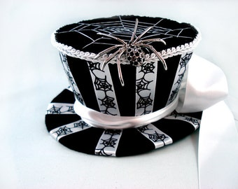 Black Widow Mini Top Hat - Spider Top Hat Halloween Top Hat Mini Top Hat Felt Top Hat Spiderweb Top Hat Striped Top Hat