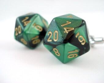Metallic Green Black and Gold D20 Cuff Links -  D20 Cufflinks Dice Cufflinks Gamer Cufflinks RPG Cufflinks D20 Cuff Links Geek Cufflinks