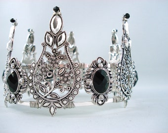 The Game of Thrones - Black and Silver Filigree Crystal Crown - Made to Order