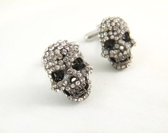 White Rhinestone Skull Gunmetal Cuff Links - Rhinestone Skull Cufflinks Gothic Wedding Skeleton Cufflinks Black Skull Cufflinks