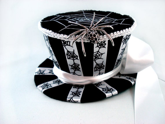 Black Widow Mini Top Hat - Spider Top Hat Halloween Top Hat Mini Top Hat Felt Top Hat Spiderweb Top Hat Striped Top Hat