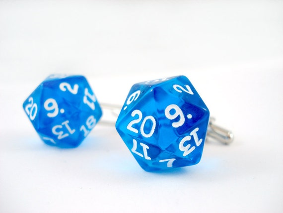Translucent Vivid Blue D20 Cufflinks