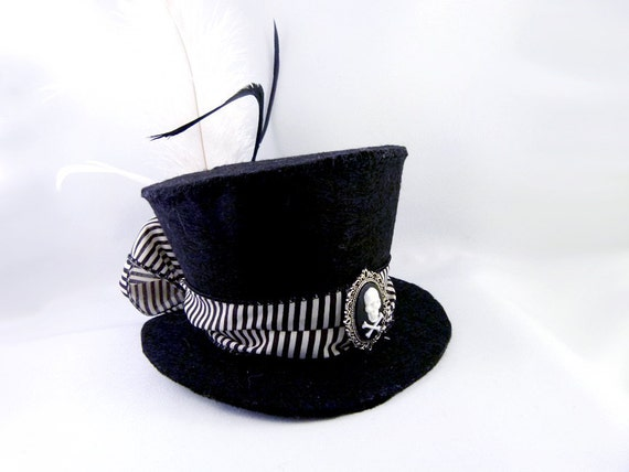 Black and White Stripe Skull Cameo Mini Top Hat - Beetlejuice Costume Halloween Costume Made to Order