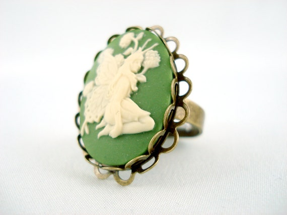 Absinthe Ivory and Green Fairy Antique Brass Adjustable Cameo Ring