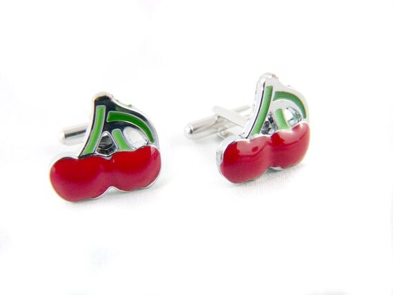 Lucky Twin Red Cherries - Rockabilly Cuff Links