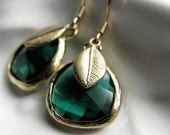 SALE Peacock Green Crystal Earrings with Brushed Gold Feather Charms 14K