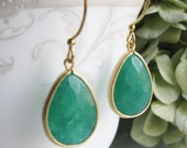 SALE Peacock Green Jade Earrings with Gold Vermeil - Natural Stone Earrings - Preppy Chic - Gift for Her