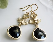 Set of 5 for Laura - Citrine or smokey quartz-  with Matte Gold Hydrandea Blossoms - Black and Gold Bridesmaid Earrings