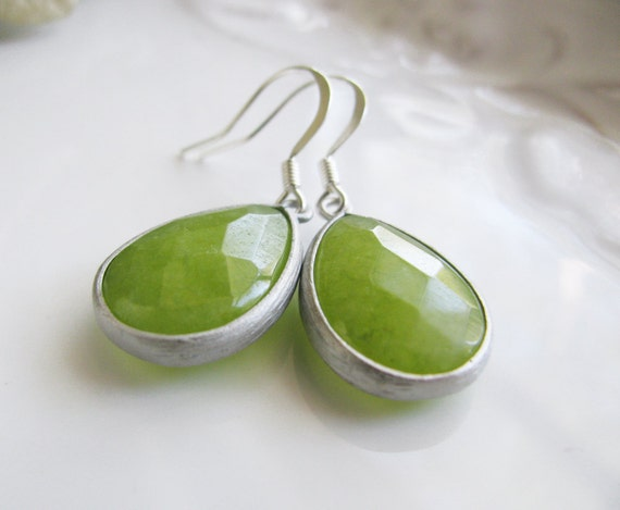 Green Apple Jade in Brushed Silver Settings - Natural Stone Earrings, Statement earrings in sterling silver