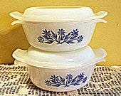 Fire King Cornflower Blue Milk Glass 12 oz. Mini Casserole Dishes set of 2