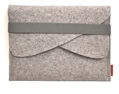 "Macbook 13"" Case Wool Felt with Double Pocket and Elastic Trim"