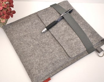 iPad Case Wool 3mm Felt Granite with Elastic Trim