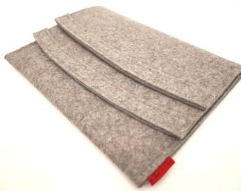 iPad Case Wool Felt with Double Pocket Velcro Closure
