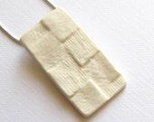 Porcelain pendant-  bisque textured squares design, ceramic, snake chain