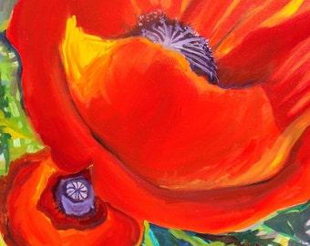 Santa Fe Poppy Love - 30 x 40 in. - Fine Art Oil on Canvas