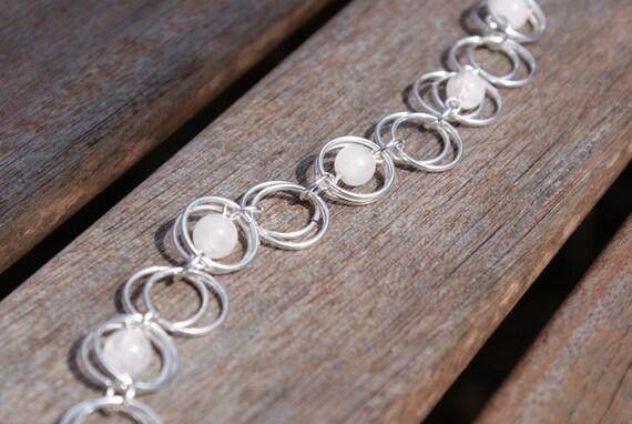 Silver Circles and Rose Quartz Bracelet