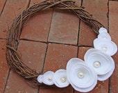 Grapevine Wreath. White Felt Flowers. Pearl Centers. Custom Colors. (W67)