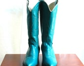 Vintage turquoise leather cowboy boots