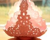 Vintage handpainted  pink ceramic lace spring basket planter - baby shower wedding bridal - pearlescent opalescent spring