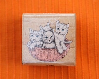 Basket full of kittens stamp - Vintage wooden rubber stamp from the 1980s