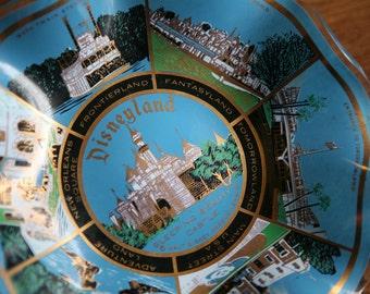 Vintage Walt Disney - Disneyland Souvenir Dish - Blue Glass Wavy Dish Candy Dish Candy Bowl