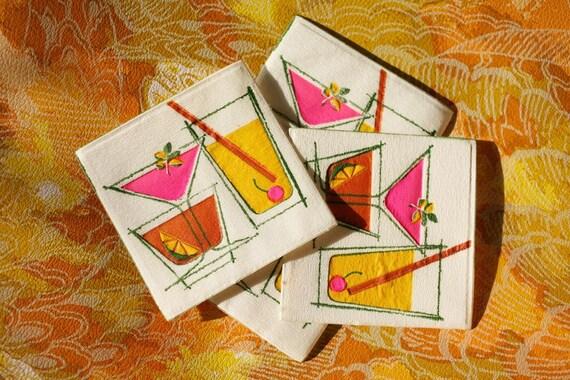 Vintage 1960s Hallmark Retro Mod Felt Cocktail Coasters Mad